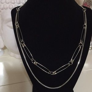 Jewelry - NWT safety pin double layer necklace silver color